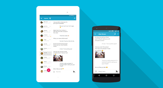 Die mysms Android Apps im Material Design